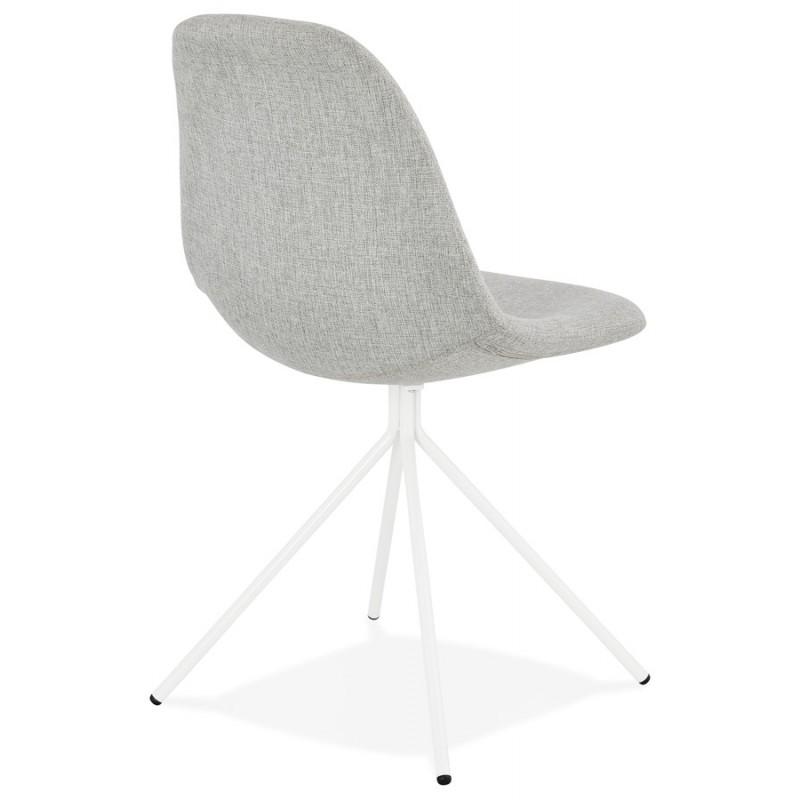 Chaise design et scandinave en tissu pieds métal blanc MALVIN (gris clair) - image 47751