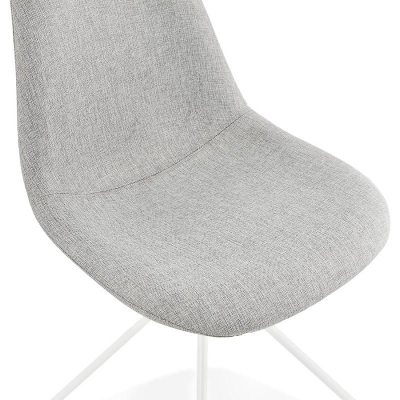 Chaise design et scandinave en tissu pieds métal blanc MALVIN (gris clair) - image 47753