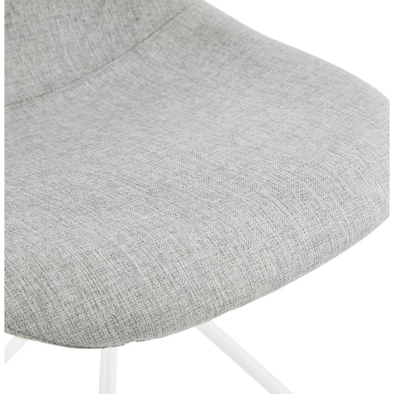 Chaise design et scandinave en tissu pieds métal blanc MALVIN (gris clair) - image 47754