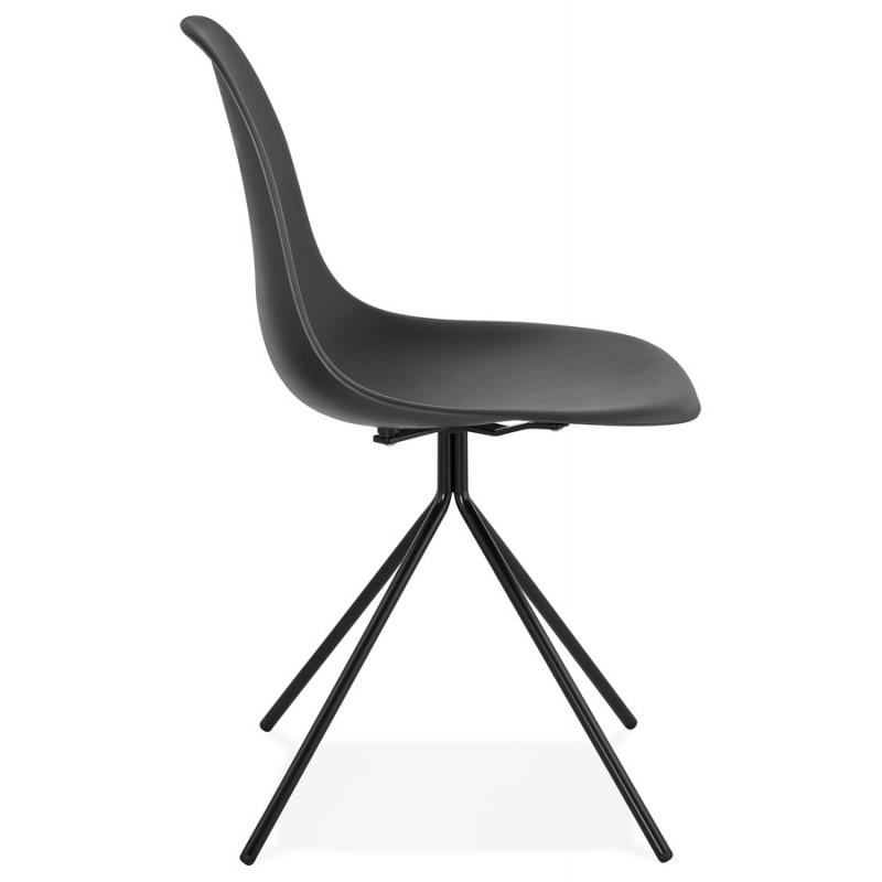 Chaise design industrielle pieds métal noir MELISSA (noir) - image 47760