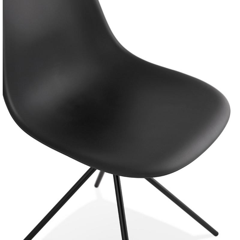 Chaise design industrielle pieds métal noir MELISSA (noir) - image 47763
