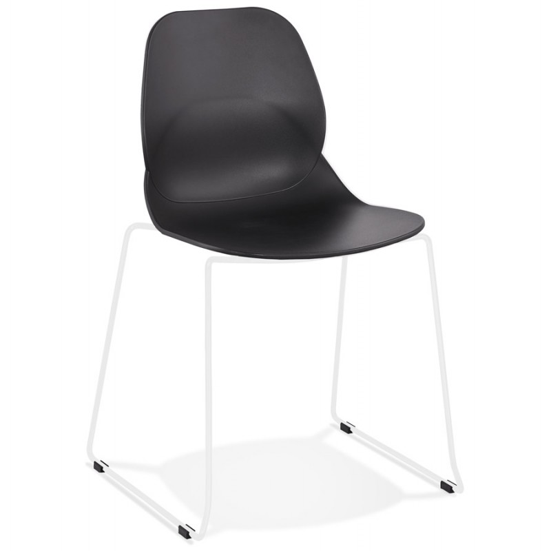 Chaise design empilable pieds métal blanc MALAURY (noir) - image 47769