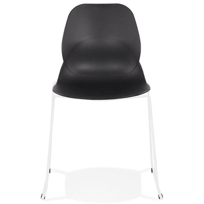 Chaise design empilable pieds métal blanc MALAURY (noir) - image 47771