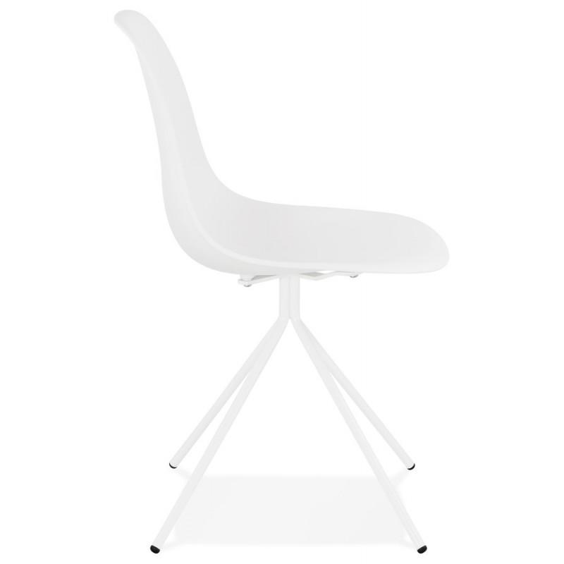 Chaise design industrielle pieds métal blanc MELISSA (blanc) - image 47772