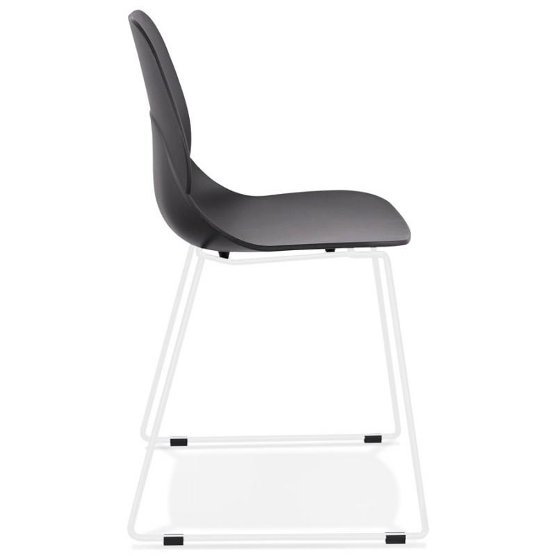 Chaise design empilable pieds métal blanc MALAURY (noir) - image 47773