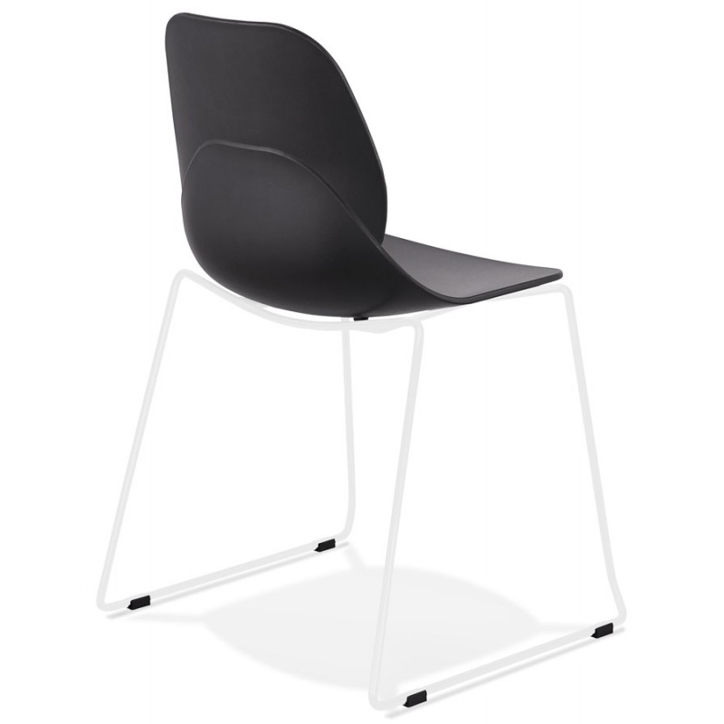 Chaise design empilable pieds métal blanc MALAURY (noir) - image 47774