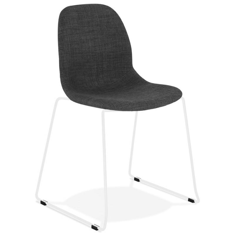 Chaise design empilable en tissu pieds métal blanc MANOU (gris foncé)