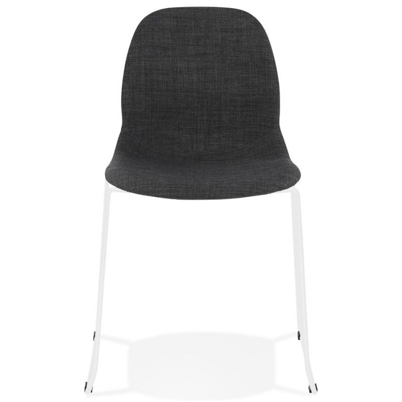 Chaise design empilable en tissu pieds métal blanc MANOU (gris foncé) - image 47789