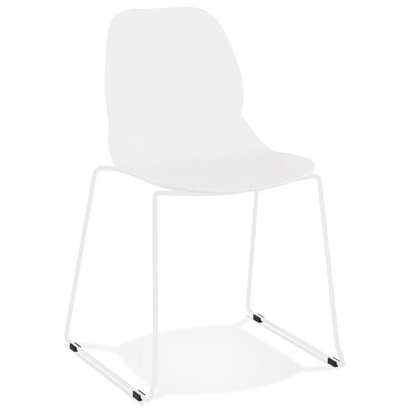 Chaise design empilable pieds métal blanc MALAURY (blanc) - image 47790