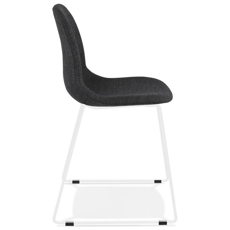 Chaise design empilable en tissu pieds métal blanc MANOU (gris foncé) - image 47791