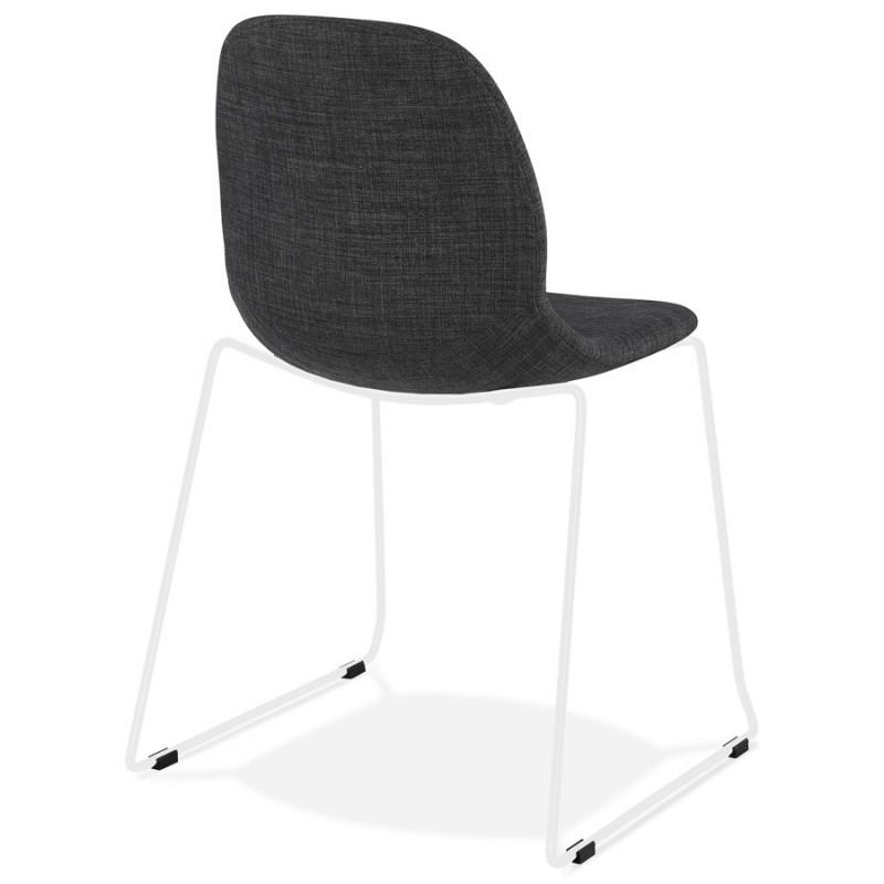 Chaise design empilable en tissu pieds métal blanc MANOU (gris foncé) - image 47793