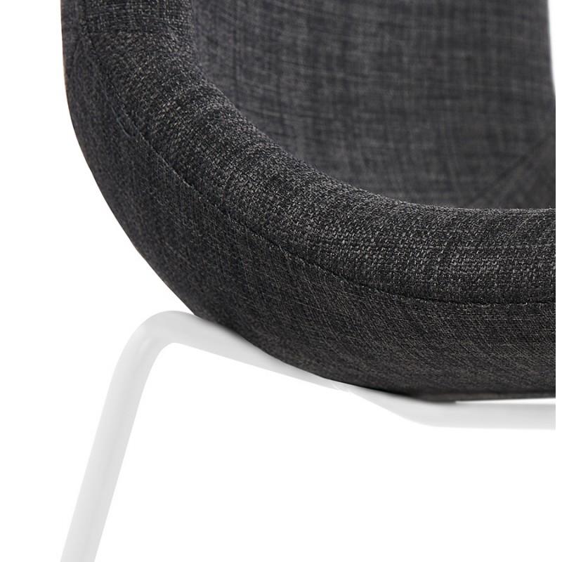 Chaise design empilable en tissu pieds métal blanc MANOU (gris foncé) - image 47801