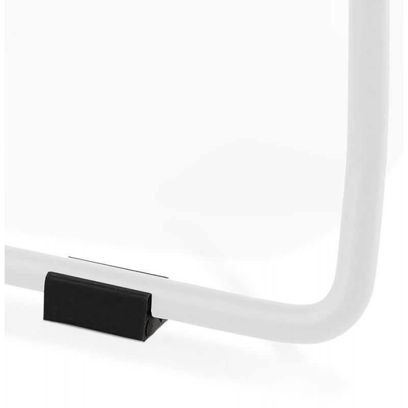 Chaise design empilable en tissu pieds métal blanc MANOU (gris foncé) - image 47803