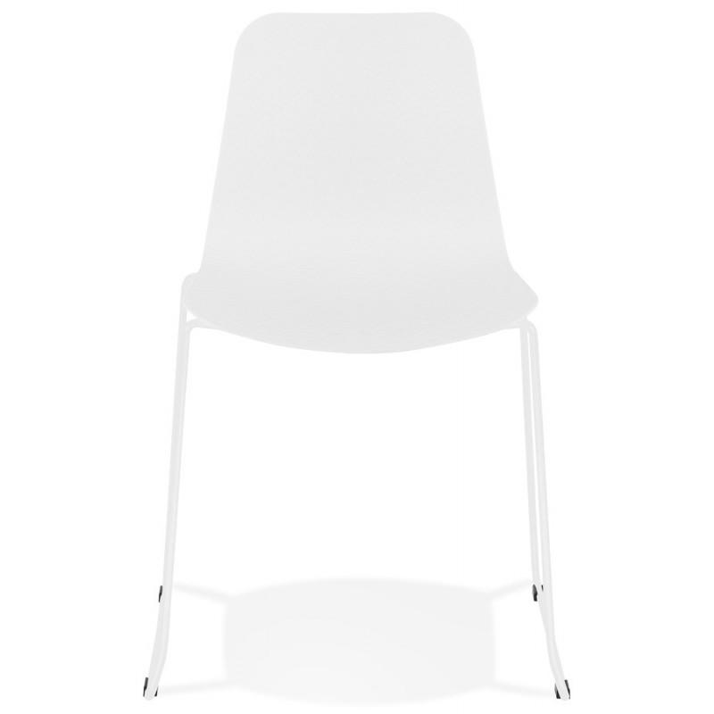 Chaise moderne empilable pieds métal blanc ALIX (blanc) - image 47807
