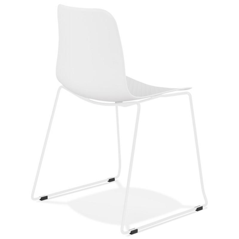 Chaise moderne empilable pieds métal blanc ALIX (blanc) - image 47809