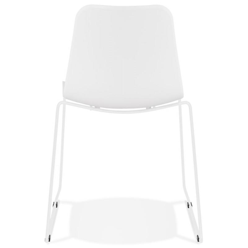 Chaise moderne empilable pieds métal blanc ALIX (blanc) - image 47810