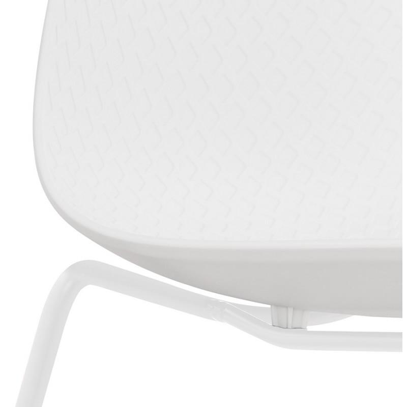 Chaise moderne empilable pieds métal blanc ALIX (blanc) - image 47813