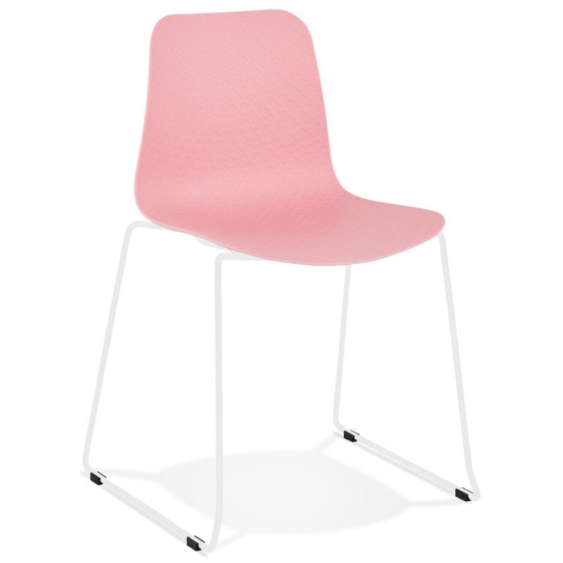 Chaise moderne empilable pieds métal blanc ALIX (rose)