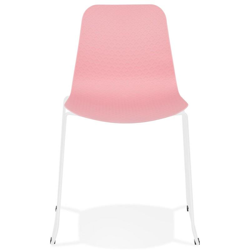Chaise moderne empilable pieds métal blanc ALIX (rose) - image 47816