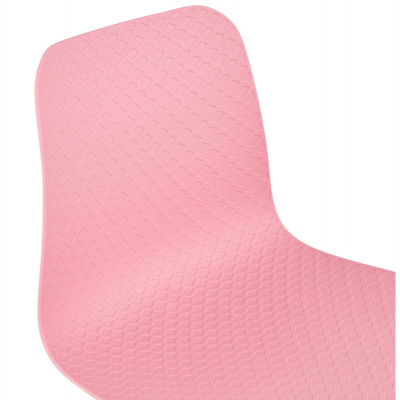 Chaise moderne empilable pieds métal blanc ALIX (rose) - image 47820