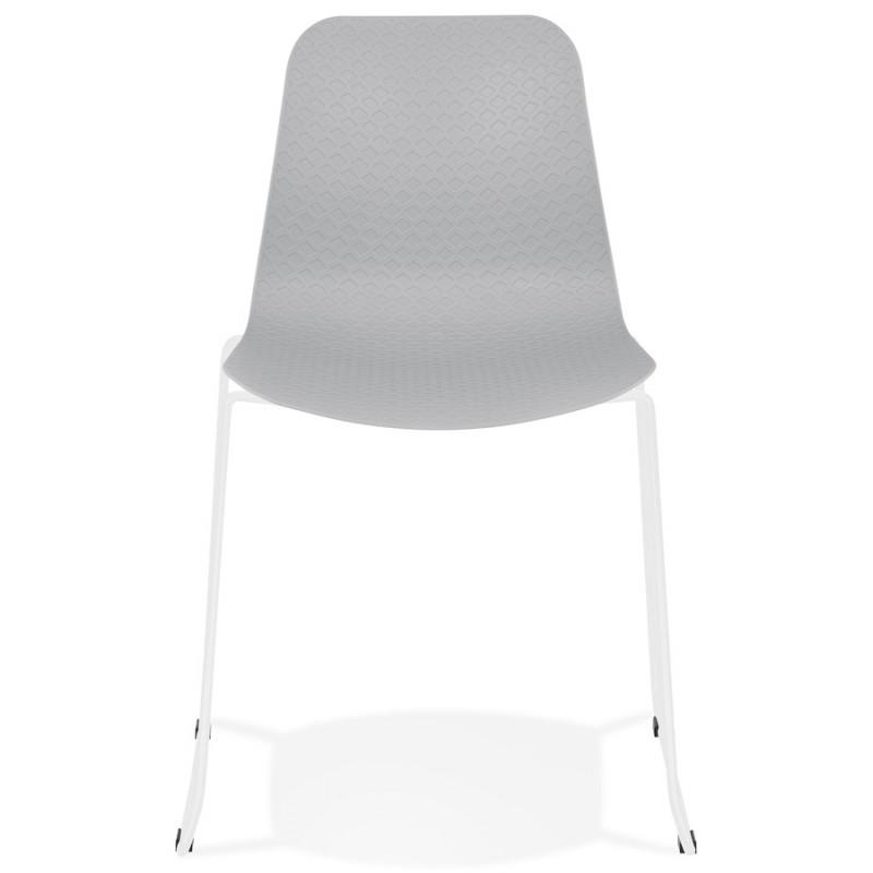 Chaise moderne empilable pieds métal blanc ALIX (gris clair) - image 47825