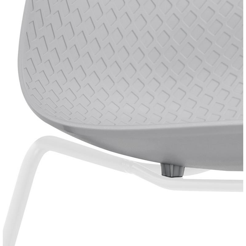 Chaise moderne empilable pieds métal blanc ALIX (gris clair) - image 47831