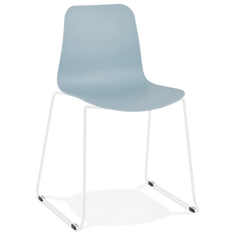 Chaise moderne empilable pieds métal blanc ALIX (bleu ciel)