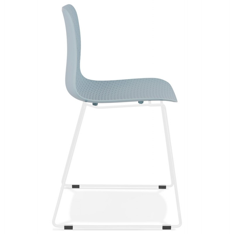 Chaise moderne empilable pieds métal blanc ALIX (bleu ciel) - image 47835