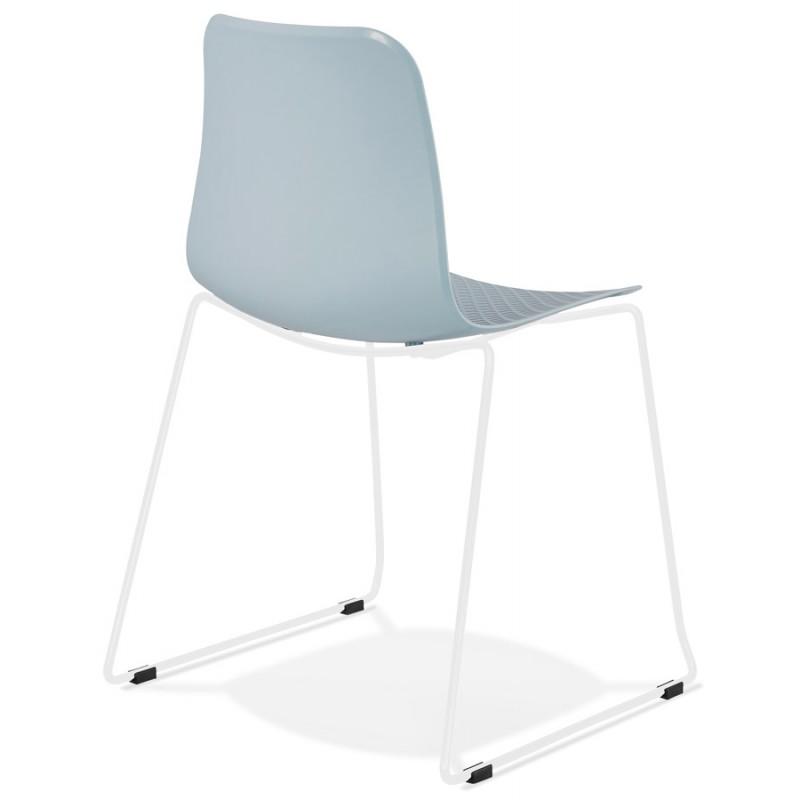 Chaise moderne empilable pieds métal blanc ALIX (bleu ciel) - image 47836