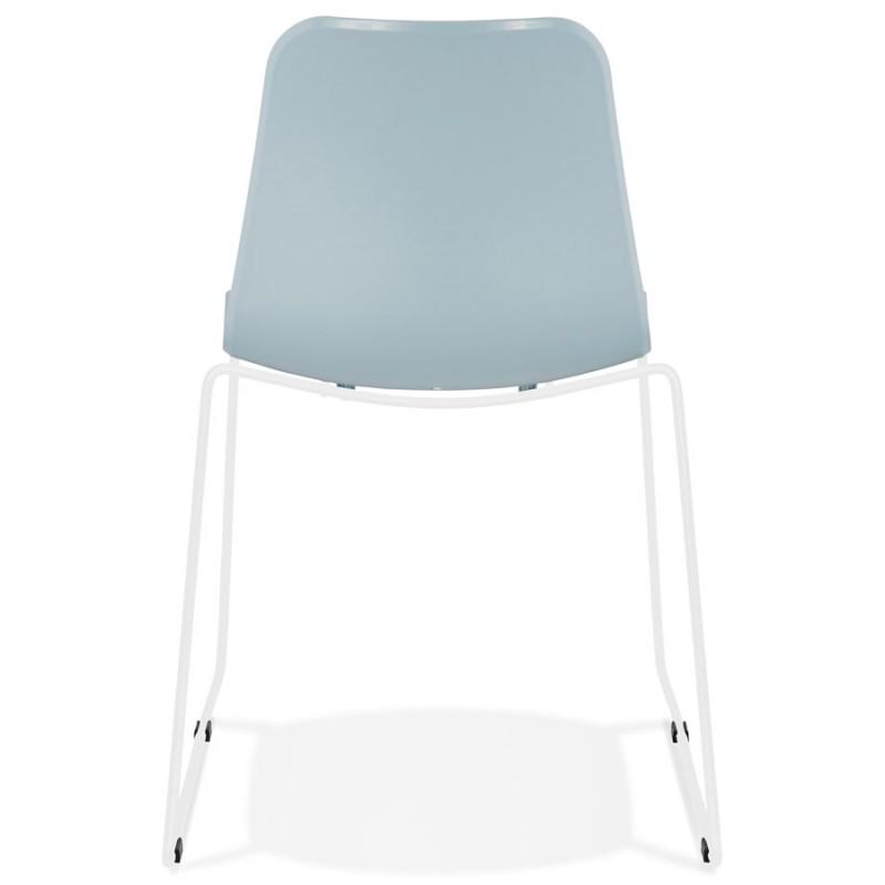 Chaise moderne empilable pieds métal blanc ALIX (bleu ciel) - image 47837