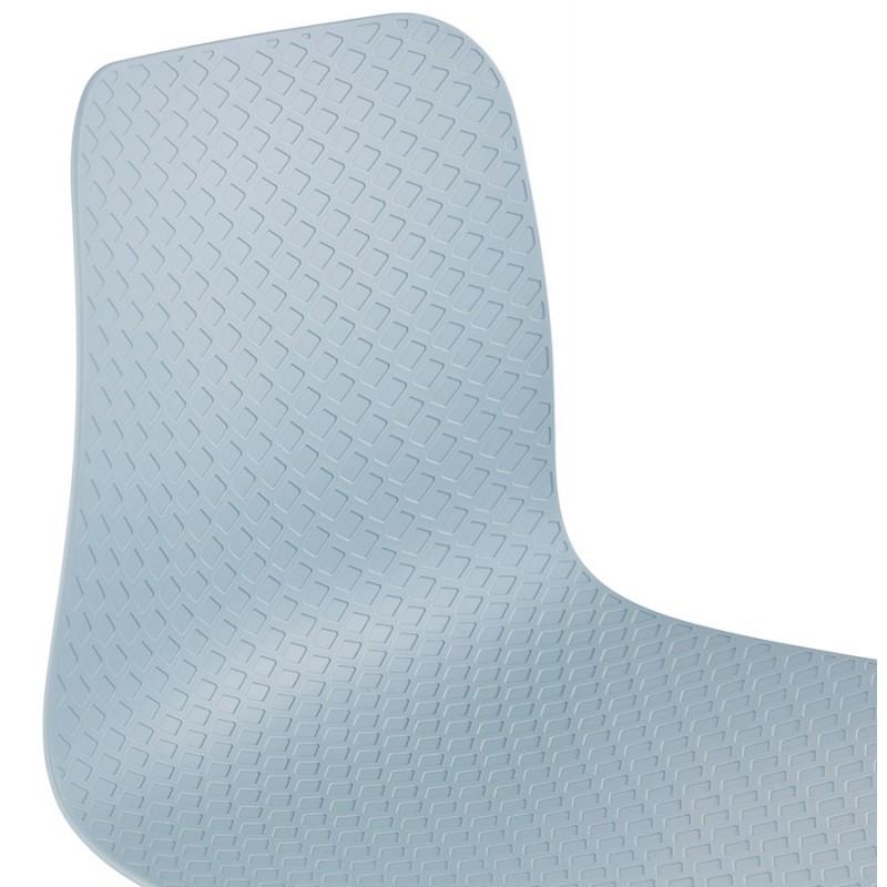 Chaise moderne empilable pieds métal blanc ALIX (bleu ciel) - image 47838