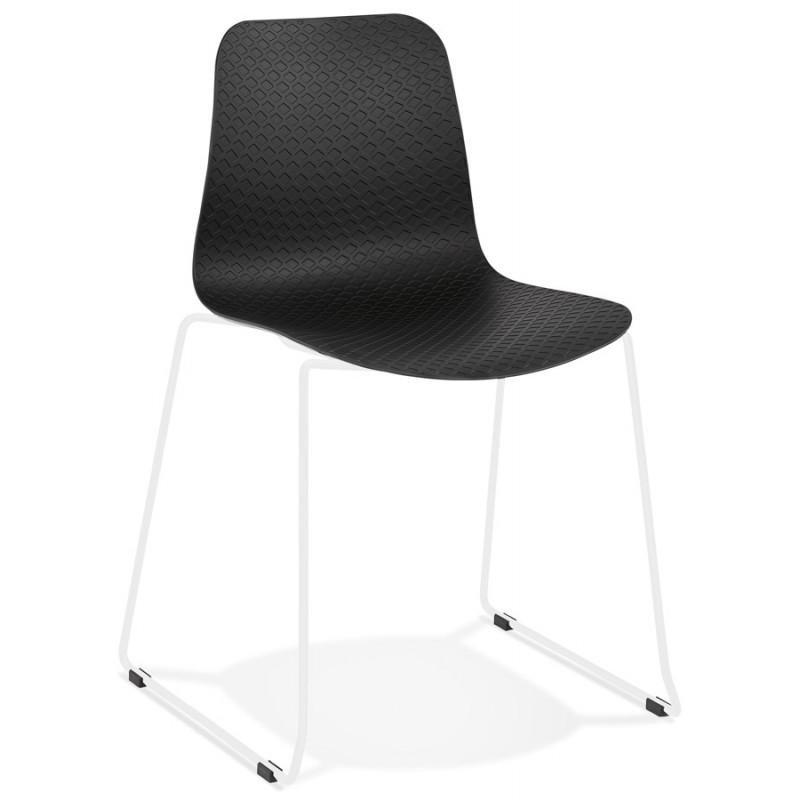 Chaise moderne empilable pieds métal blanc ALIX (noir) - image 47842