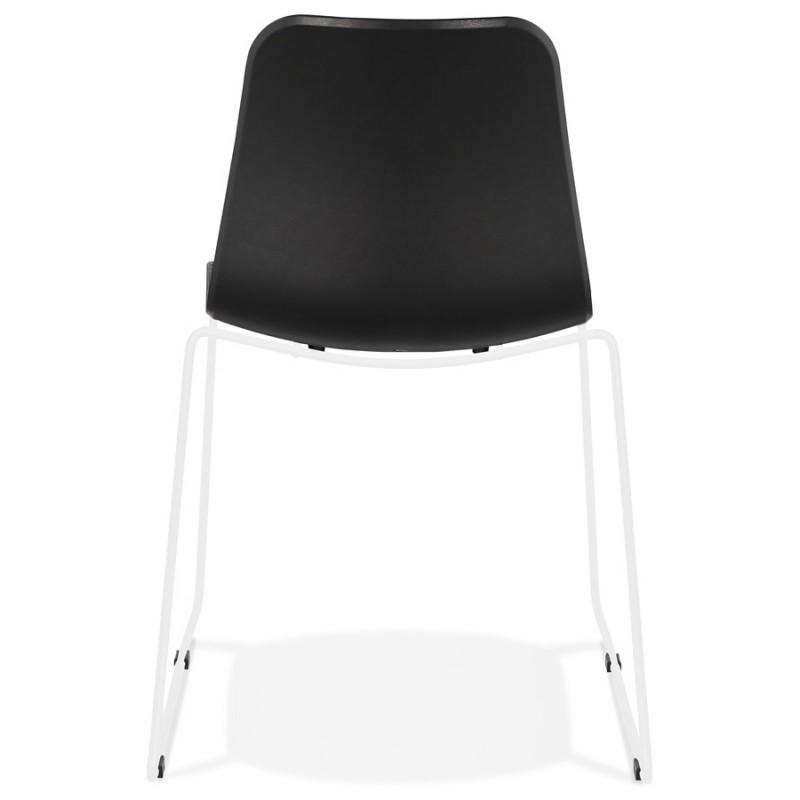Chaise moderne empilable pieds métal blanc ALIX (noir) - image 47846