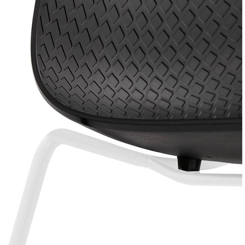 Chaise moderne empilable pieds métal blanc ALIX (noir) - image 47849