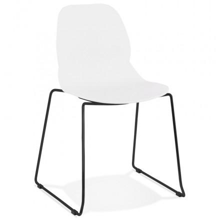 Chaise design empilable pieds métal noir MALAURY (blanc)