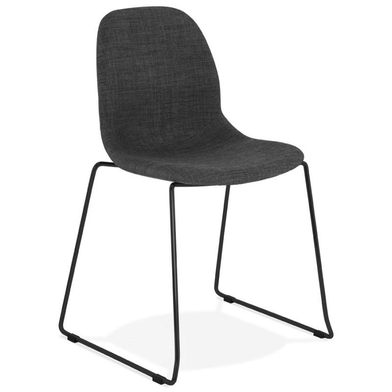 Chaise design empilable en tissu pieds métal noir MANOU (gris foncé)