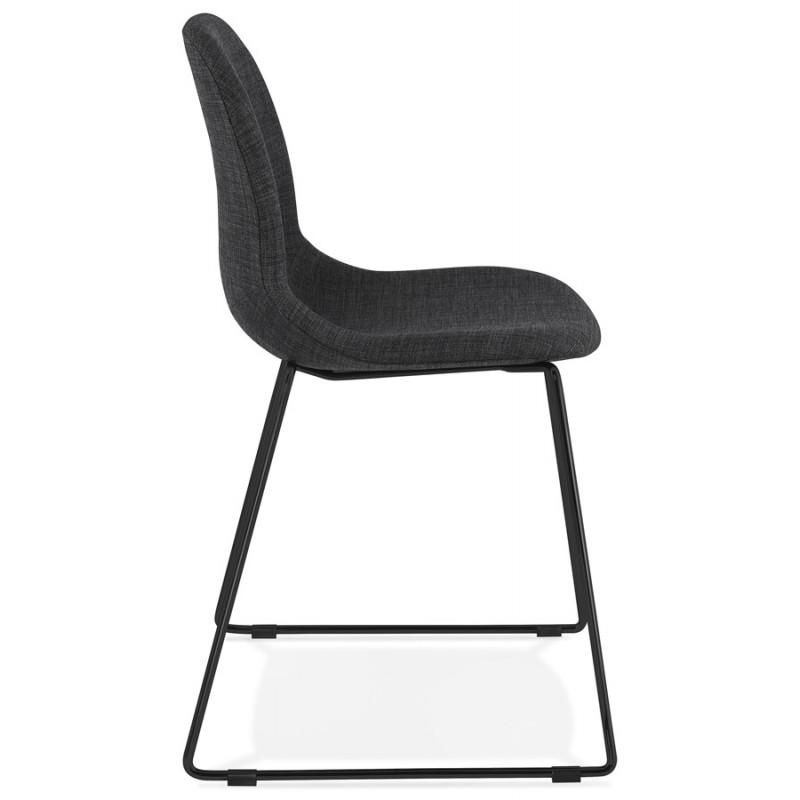Chaise design empilable en tissu pieds métal noir MANOU (gris foncé) - image 47871