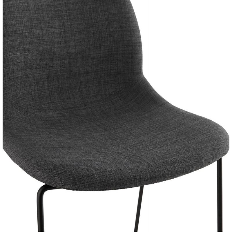 Chaise design empilable en tissu pieds métal noir MANOU (gris foncé) - image 47874