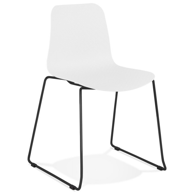 Chaise moderne empilable pieds métal noir ALIX (blanc) - image 47878