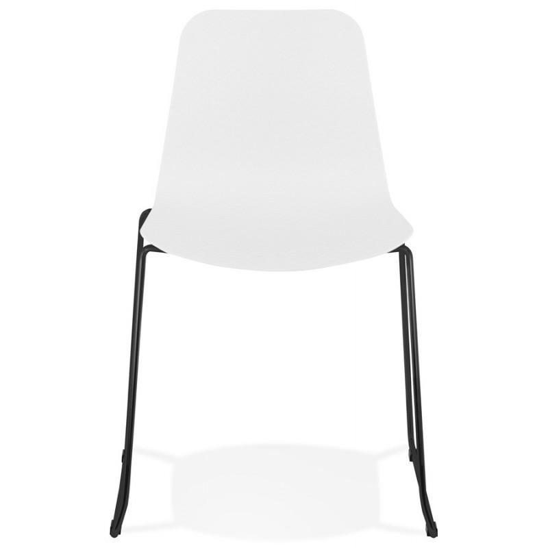 Chaise moderne empilable pieds métal noir ALIX (blanc) - image 47879