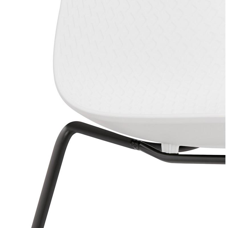 Chaise moderne empilable pieds métal noir ALIX (blanc) - image 47885