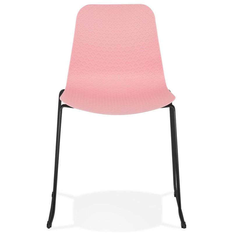 Chaise moderne empilable pieds métal noir ALIX (rose) - image 47888