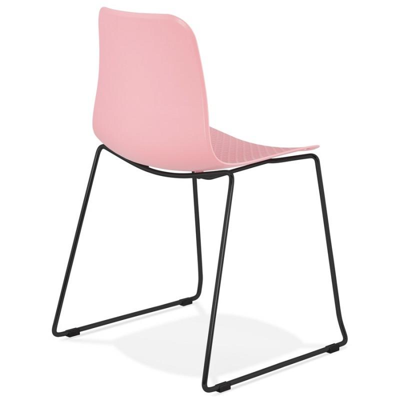 Chaise moderne empilable pieds métal noir ALIX (rose) - image 47890