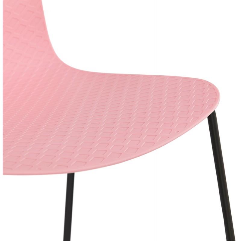 Chaise moderne empilable pieds métal noir ALIX (rose) - image 47893