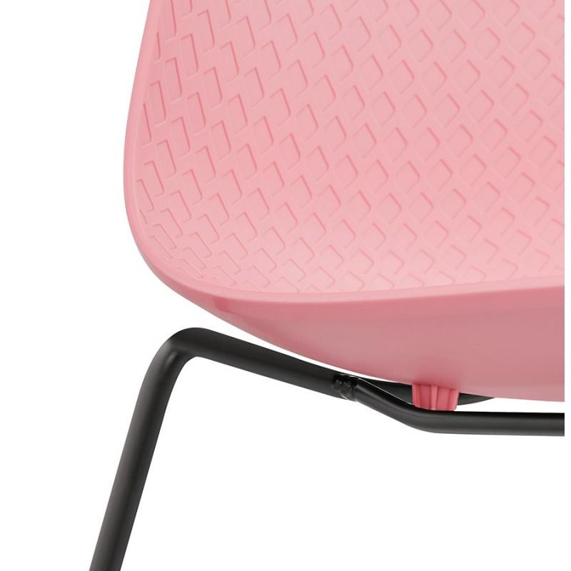 Chaise moderne empilable pieds métal noir ALIX (rose) - image 47894