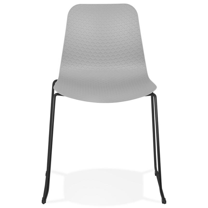 Chaise moderne empilable pieds métal noir ALIX (gris clair) - image 47897