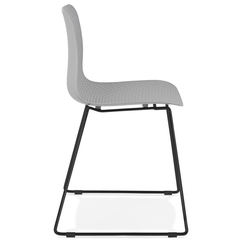 Chaise moderne empilable pieds métal noir ALIX (gris clair) - image 47898