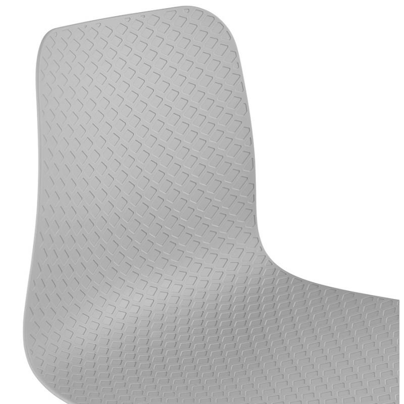 Chaise moderne empilable pieds métal noir ALIX (gris clair) - image 47901