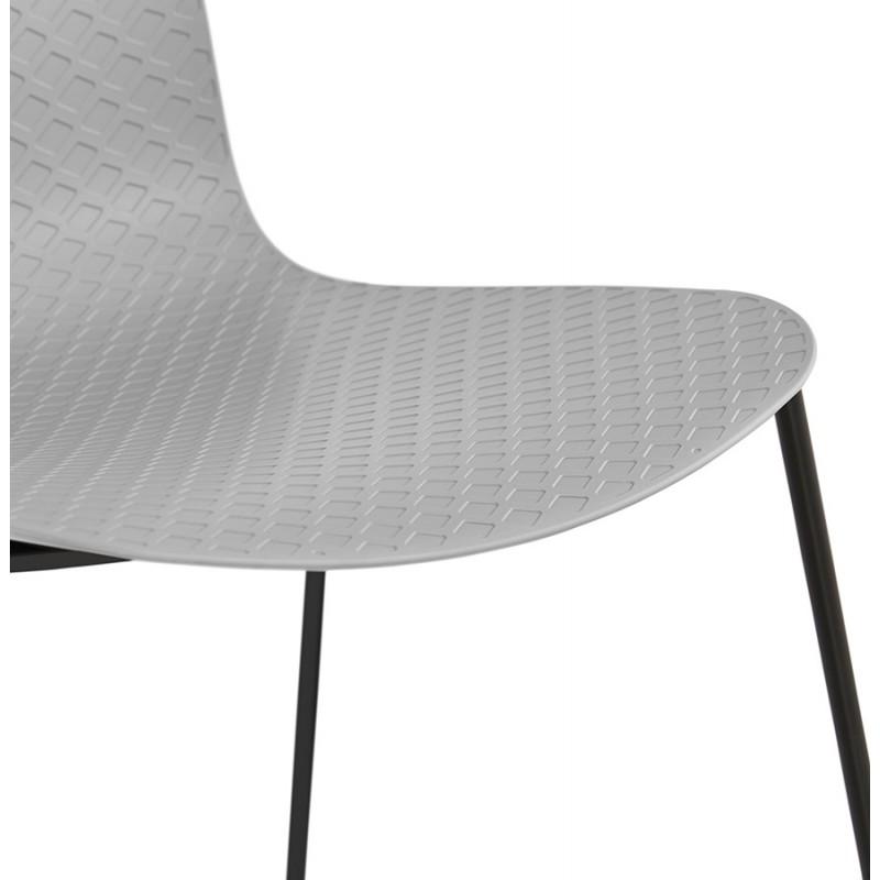 Chaise moderne empilable pieds métal noir ALIX (gris clair) - image 47902