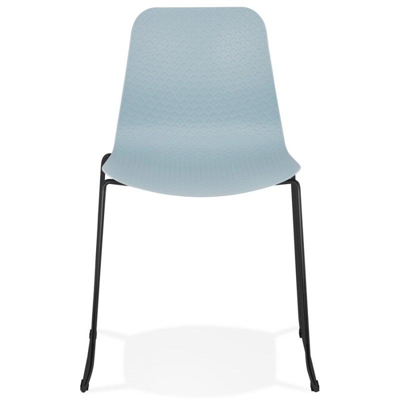 Chaise moderne empilable pieds métal noir ALIX (bleu ciel) - image 47906